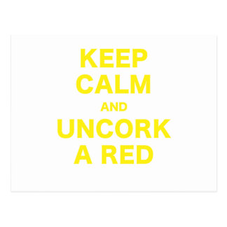 Keep Calm and Uncork a Red Postcards