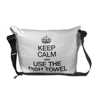 KEEP CALM AND USE THE DISH TOWEL MESSENGER BAG