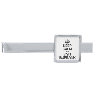 KEEP CALM AND VISIT BURBANK SILVER FINISH TIE CLIP