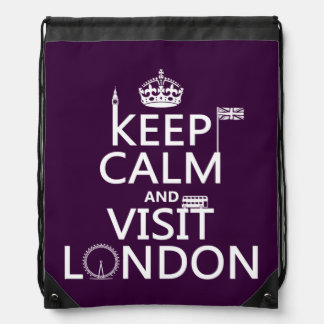 Keep Calm and Visit London Drawstring Bag