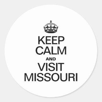 KEEP CALM AND VISIT MISSOURI ROUND STICKER