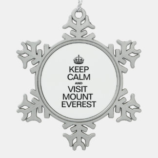 KEEP CALM AND VISIT MOUNT EVEREST PEWTER SNOWFLAKE DECORATION