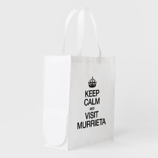 KEEP CALM AND VISIT MURRIETA REUSABLE GROCERY BAGS