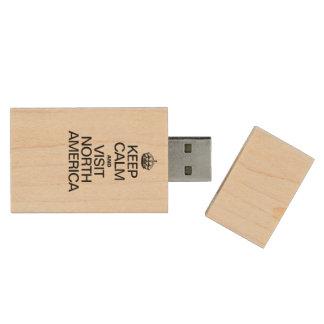 KEEP CALM AND VISIT NORTH AMERICA WOOD USB 2.0 FLASH DRIVE