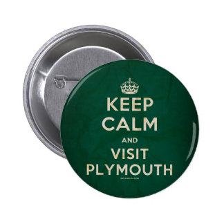 'Keep Calm and Visit Plymouth' Badge Buttons