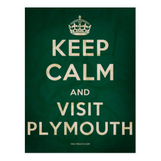Keep Calm and Visit Plymouth Postcard