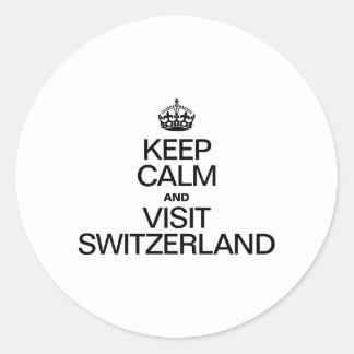 KEEP CALM AND VISIT SWITZERLAND ROUND STICKER