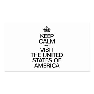 KEEP CALM AND VISIT THE UNITED STATES OF AMERICA. BUSINESS CARDS