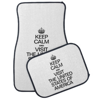 KEEP CALM AND VISIT THE UNITED STATES OF AMERICA CAR MAT