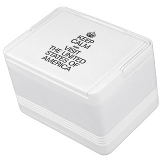 KEEP CALM AND VISIT THE UNITED STATES OF AMERICA IGLOO COOL BOX