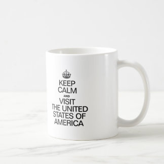 KEEP CALM AND VISIT THE UNITED STATES OF AMERICA. COFFEE MUGS