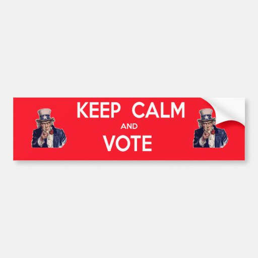 Keep Calm and Vote Bumper Sticker