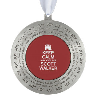 Keep Calm and Vote for Scott Walker Round Ornament
