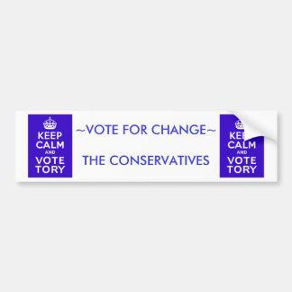 Keep Calm And Vote Tory ~ Political U.K Bumper Sticker