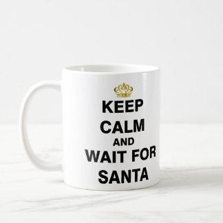 Keep Calm and Wait For Santa Basic White Mug