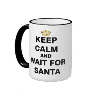 Keep Calm and Wait For Santa Ringer Mug