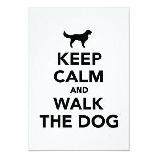 Keep calm and walk dog 3.5x5 paper invitation card