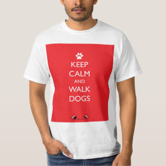 Keep Calm and Walk Dogs White Paw T-Shirt