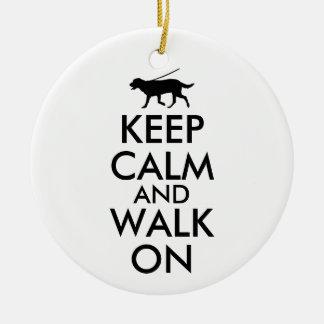 Keep Calm and Walk On Dog Walking Labrador Christmas Ornament