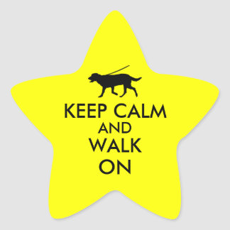 Keep Calm and Walk On Dog Walking Labrador Star Sticker