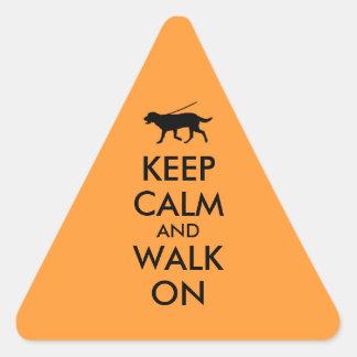 Keep Calm and Walk On Dog Walking Labrador Triangle Sticker