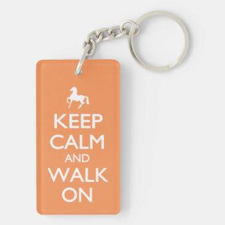 Keep Calm and Walk On Double-Sided Rectangular Acrylic Key Ring