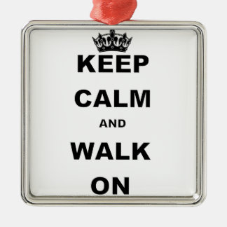 KEEP CALM AND WALK ON Silver-Colored SQUARE DECORATION