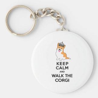 Keep Calm and Walk the Corgi Cute Dog Key Ring