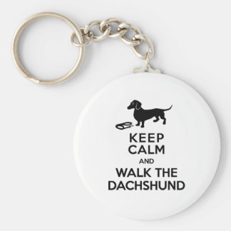 Keep Calm and Walk the Dachshund - Cute Doxie Key Ring