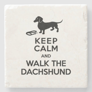 Keep Calm and Walk the Dachshund - Cute Doxie Stone Coaster