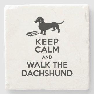 Keep Calm and Walk the Dachshund - Cute Doxie Stone Coaster
