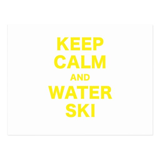 Keep Calm and Water Ski Post Cards