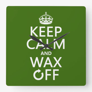 Keep Calm and Wax Off (any background color) Wallclock