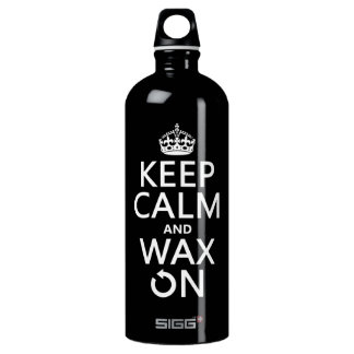 Keep Calm and Wax On (any background color) Water Bottle
