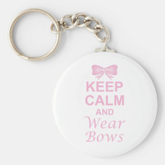 Keep Calm and Wear Bows Basic Round Button Key Ring
