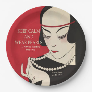 Keep Calm and Wear Pearls Deco Shower Paper Plates 9 Inch Paper Plate