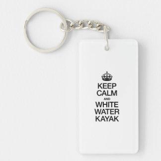 KEEP CALM AND WHITE WATER KAYAK ACRYLIC KEYCHAIN