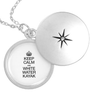 KEEP CALM AND WHITE WATER KAYAK ROUND LOCKET NECKLACE