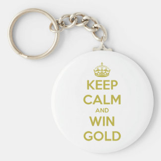 KEEP CALM AND WIN GOLD - OLYMPICS 2012 BASIC ROUND BUTTON KEY RING