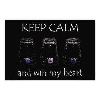 Keep calm and win my heart photo print