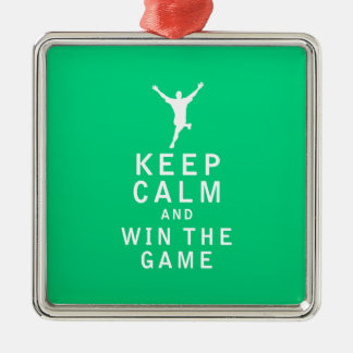 Keep Calm and Win The Game Silver-Colored Square Decoration