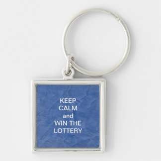 KEEP CALM and WIN THE LOTTERY BLUE MARBLE Silver-Colored Square Key Ring