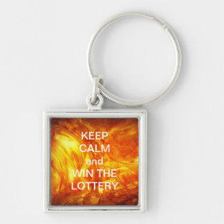KEEP CALM and WIN THE LOTTERY GLOWING MARBLE Silver-Colored Square Key Ring