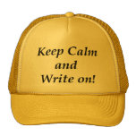Keep Calm and Write On Cap