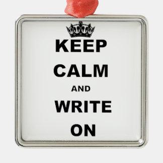 KEEP CALM AND WRITE ON CHRISTMAS ORNAMENT
