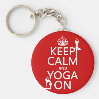 Keep Calm and Yoga On (customize colors) Key Ring