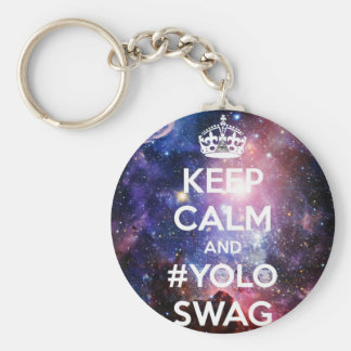 Keep calm and #yolo swag basic round button key ring