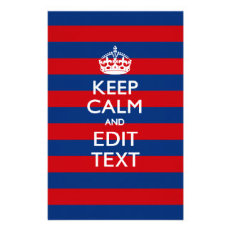 KEEP CALM AND Your Text on Red Blue Stripes 14 Cm X 21.5 Cm Flyer