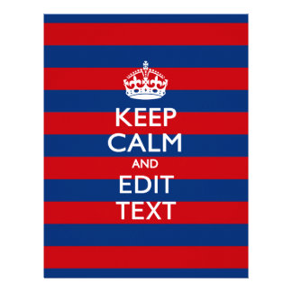 KEEP CALM AND Your Text on Red Blue Stripes 21.5 Cm X 28 Cm Flyer