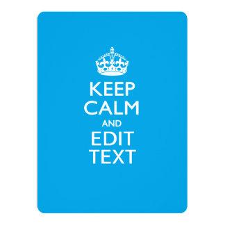 Keep Calm And Your Text on Sky Blue Card